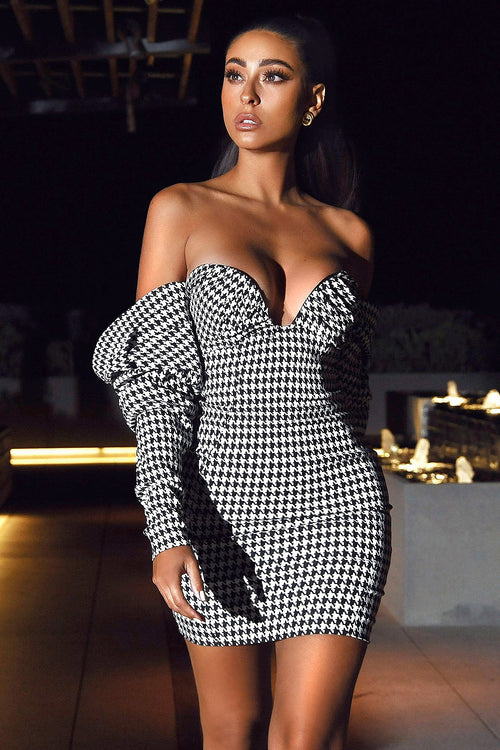 Strapless Draping Houndstooth Mini Dress
