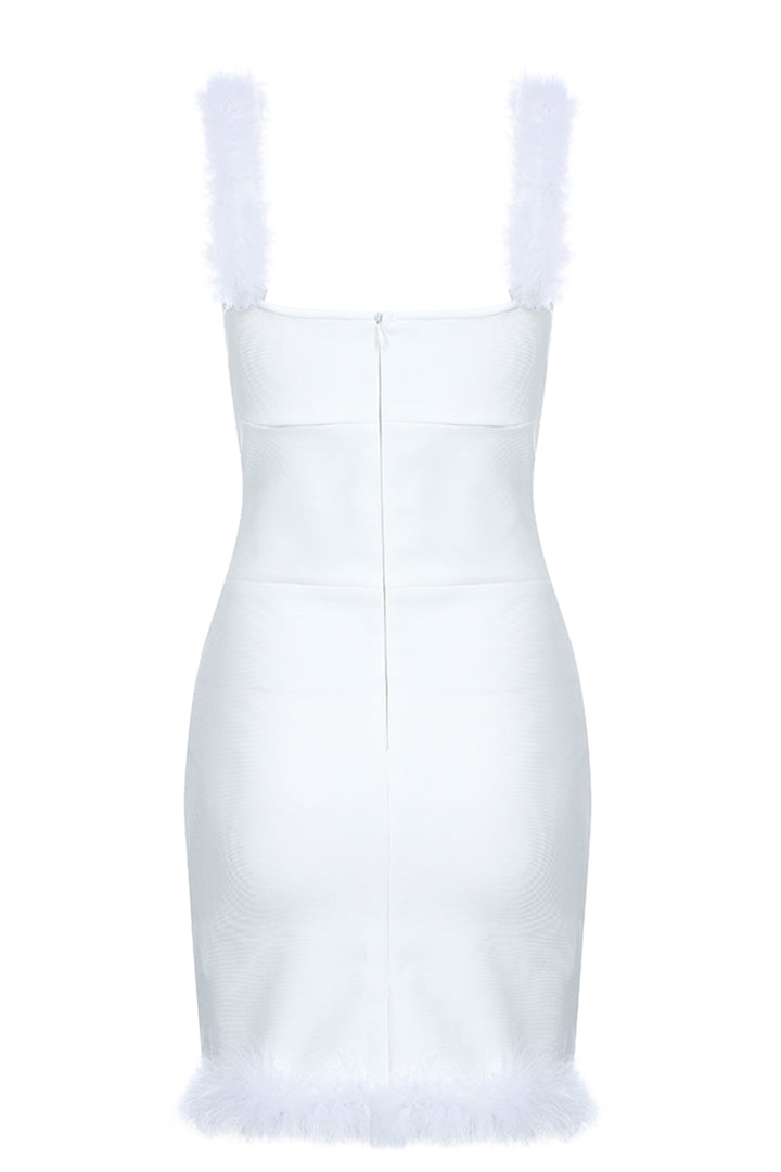Strapless Feathers Mini Length Backless Bandage Dress - iulover