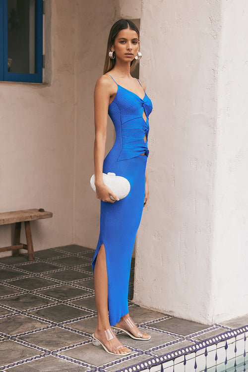 Strappy Blue V-neck Hollow Maxi Bandage Dress