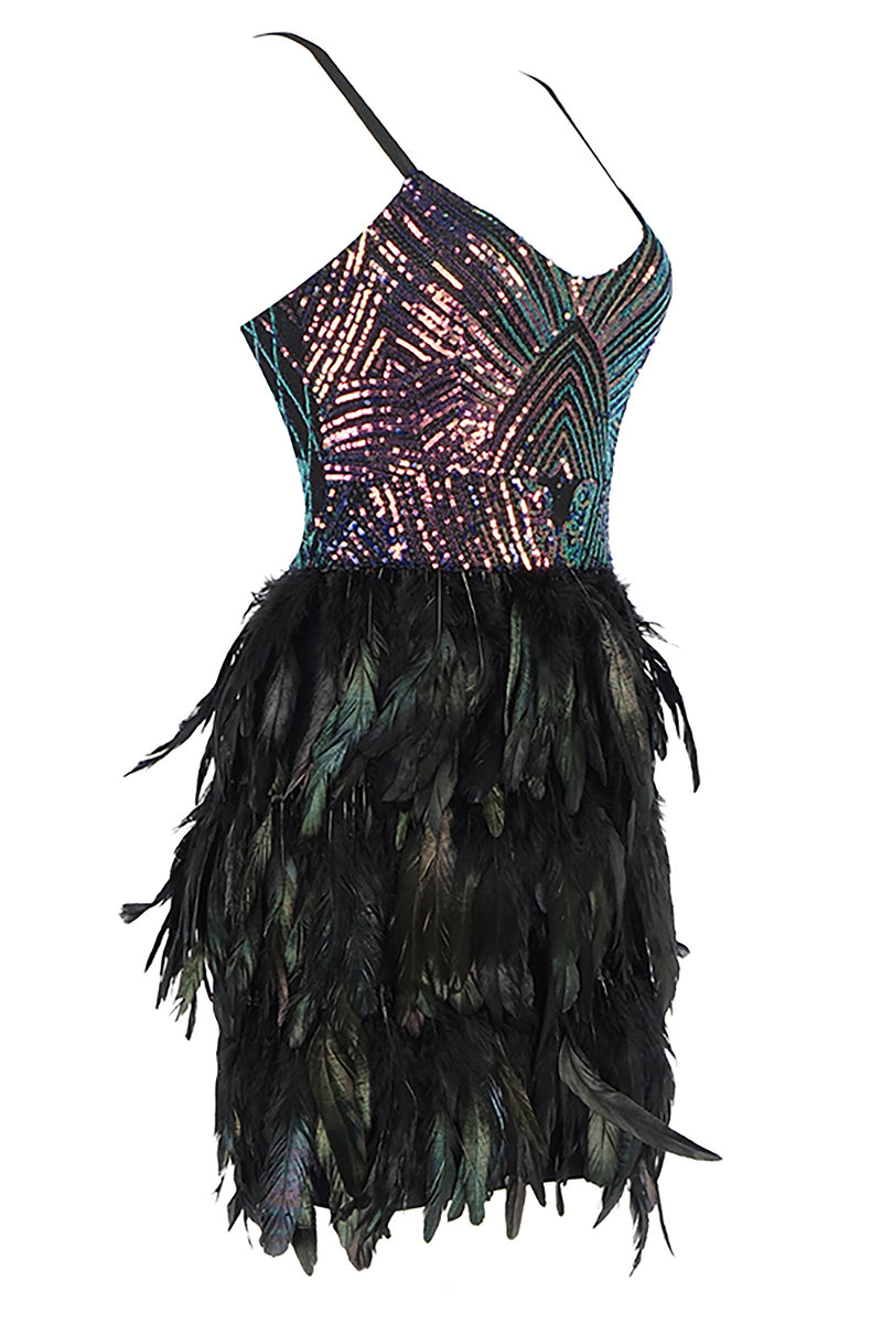 Strappy Sequin Feather Bandage Mini Dress