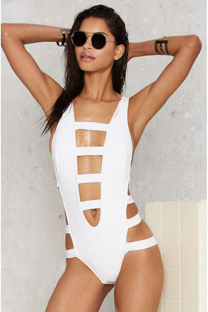 Strips Details Plunging Bandage One Piece Swimsuit Various Colours - iulover
