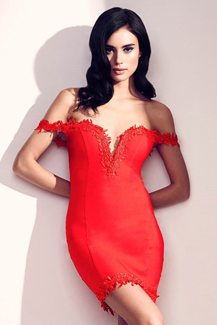 Sweat-heart Lace Trim and Bandage  Dress