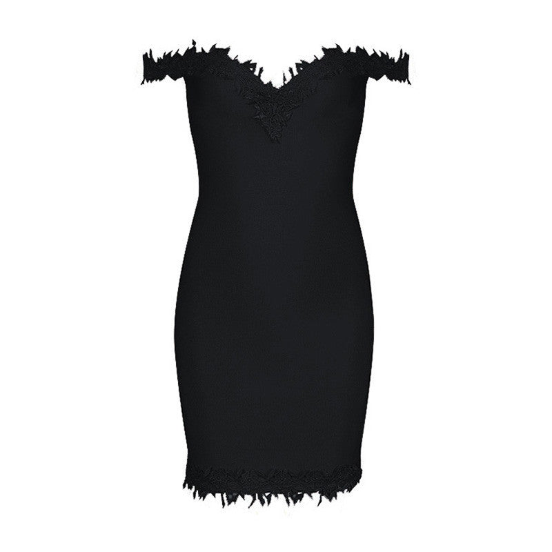 Sweat-heart Lace Trim and Bandage  Dress - iulover
