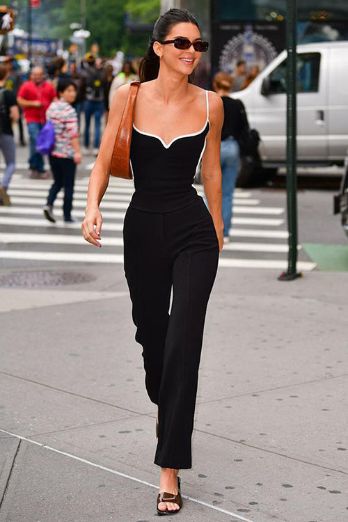 Sweetheart Neckline And White Trim Black Bandage Jumpsuit