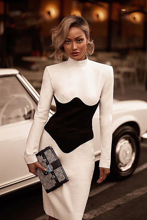 Turtleneck Full Sleeves White Patchkwork Fashion Knee Length Bandage Dress
