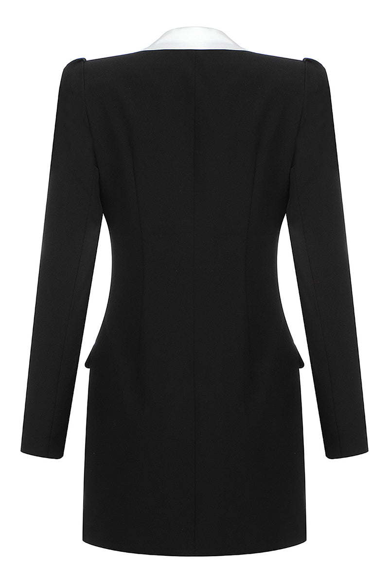 Long Sleeve Lapel Single Breasted Black Blazer Coat