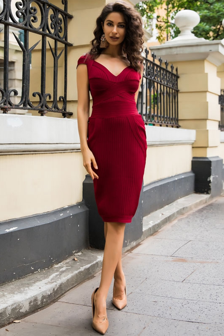 Dark Red Deep V Neck Bandage Dress - iulover