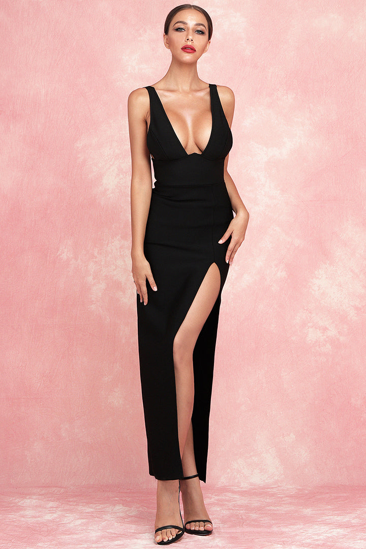 V-Neck High Slit Maxi Bandage Dress White Black - iulover