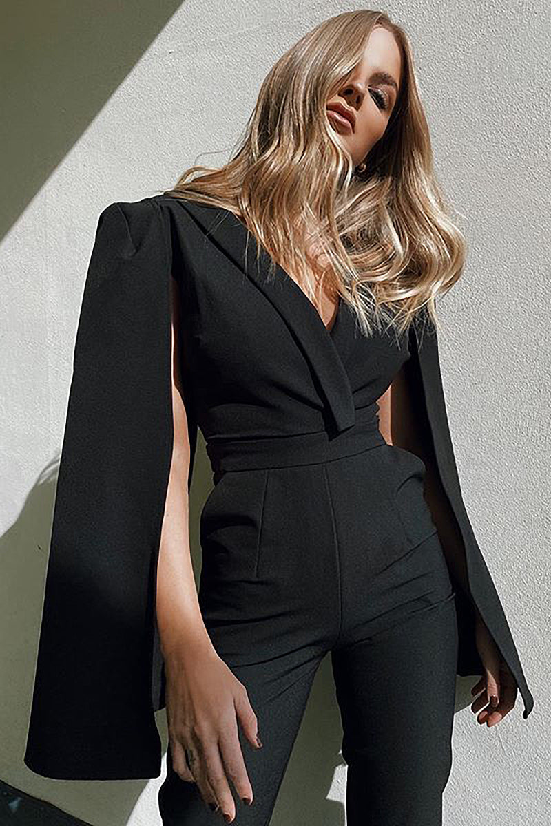V Neck Cloak Black Bodycon Jumpsuit