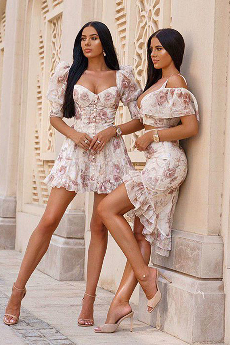 V Neck Floral Print Ruffles Two Piece Bodycon Dress - iulover