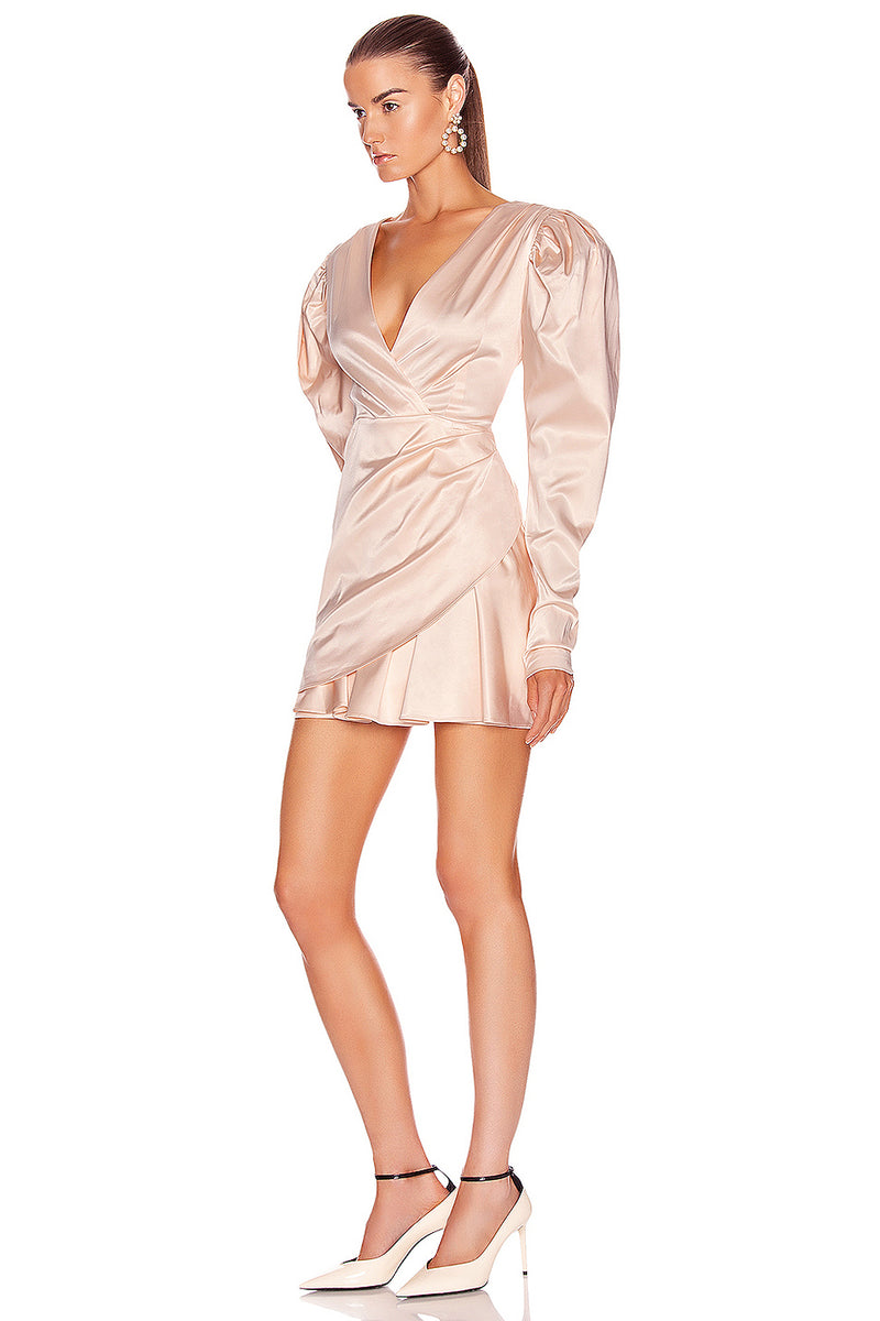 V Neck Long Sleeve Beige Satin Draped Women Winter Blazer Dress