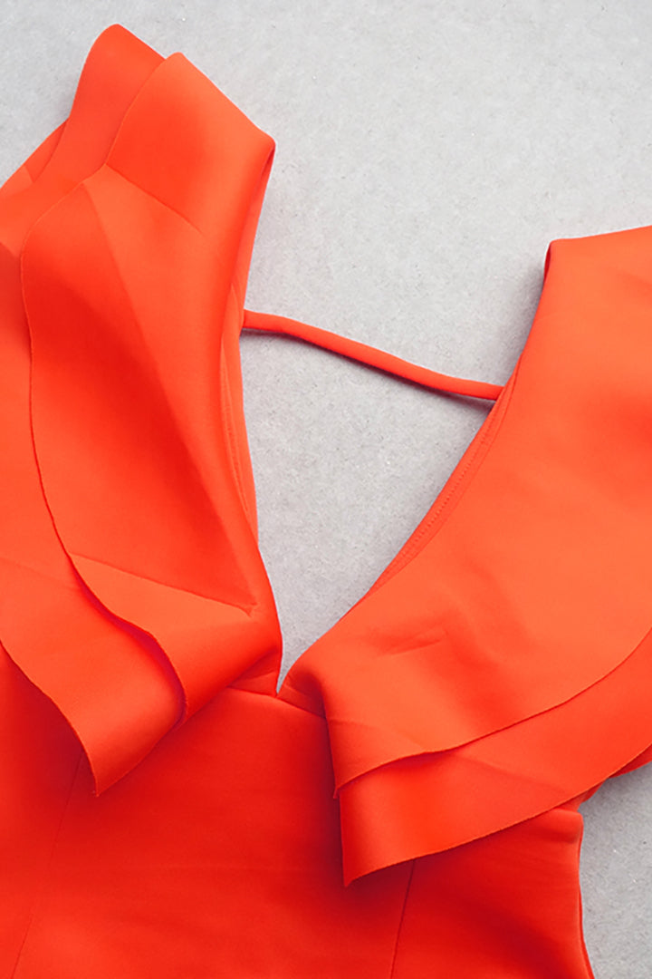 Orange V-Neck Ruffle Midi Dress