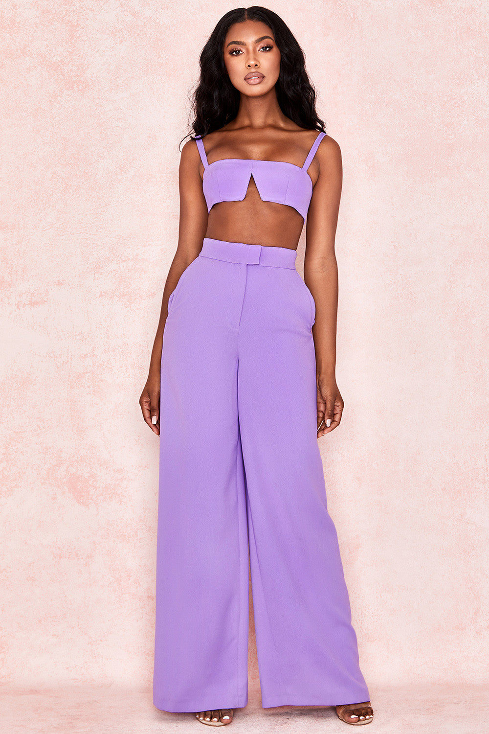 Violet Two Piece Crepe Wide Leg Trousers