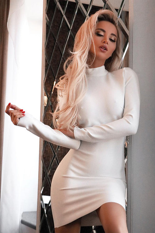 Backless Diamond Tassel Long Sleeve Bandage Dress