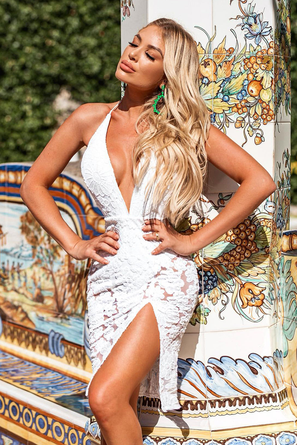 Deep V Neck Halter Backless White Lace Bandage Dress - iulover