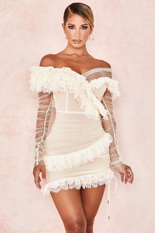 White Lace Frill Mini Bandage Dress