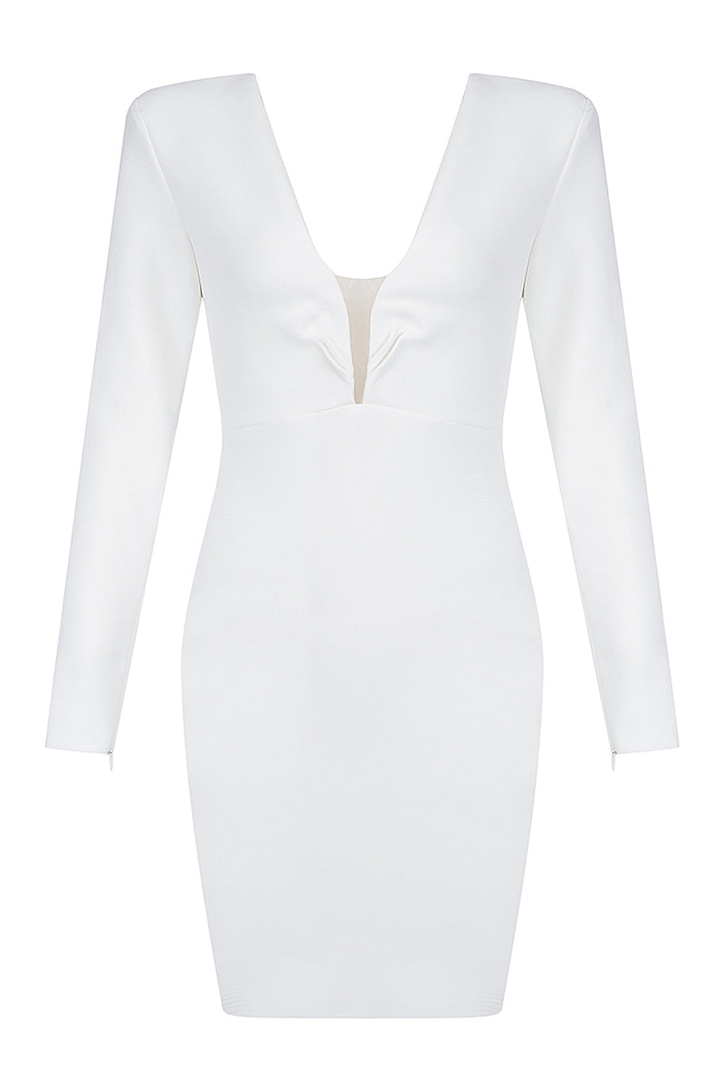White Long Sleeve V-neck Mesh Patchwork Bodycon Bandage Dress