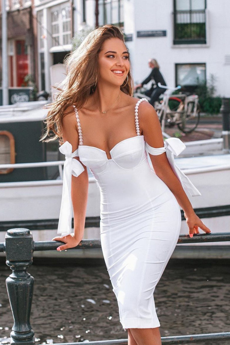 Spaghetti Beaded Strap Bodycon Backless Dress