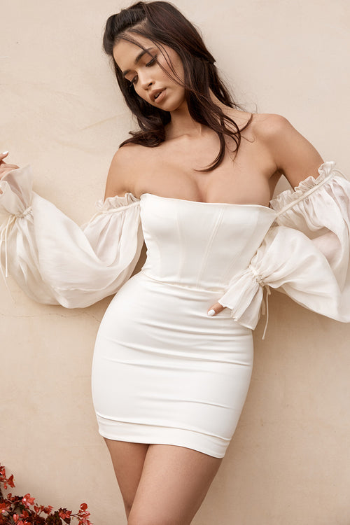 White Long Sleeve Off Shoulder Mesh Bandage Dress