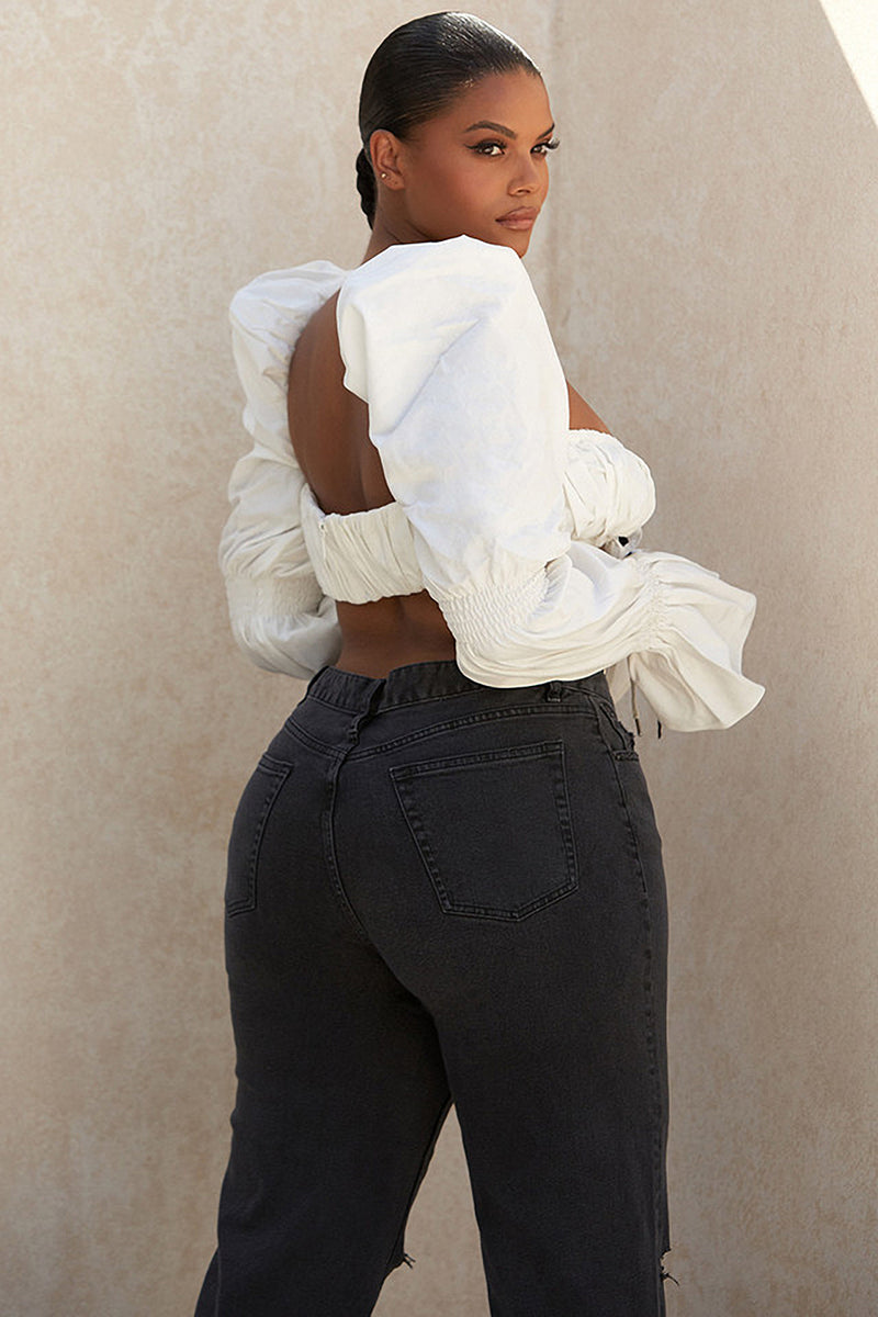 White Shirred Corset Top