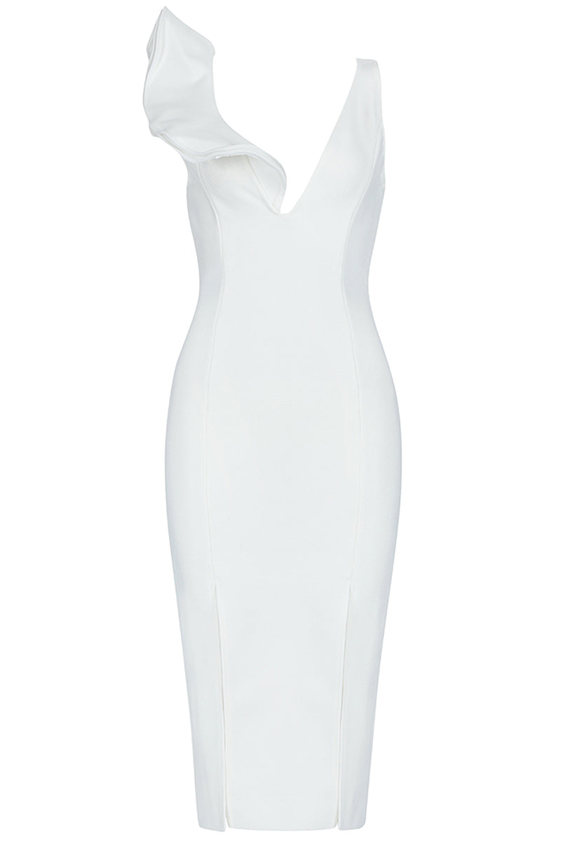 White Sleeveless Ruffled Bandage Dress - iulover