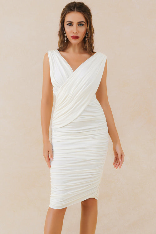 White Sleeveless V-Neck Pleated Dress - iulover