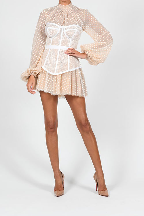 White Spot Puffes Long Sleeve Dress
