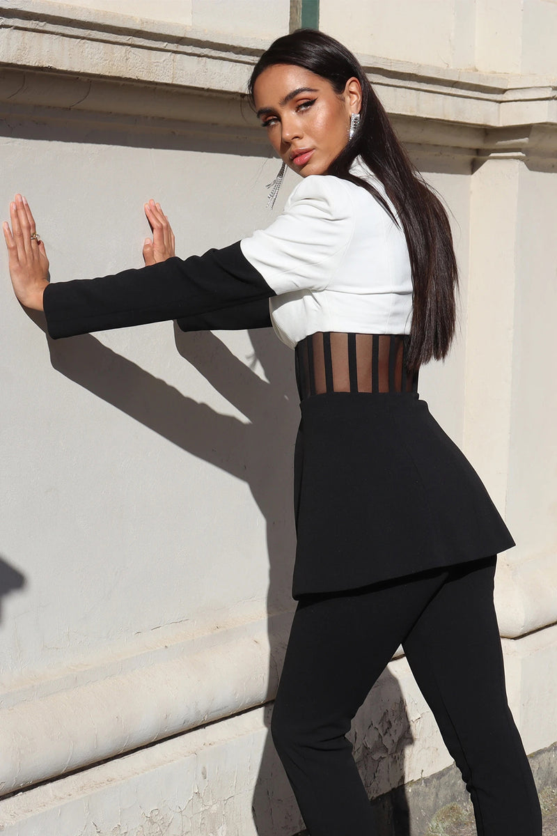 White Black Hollow Out Long Pants Two Pieces Set
