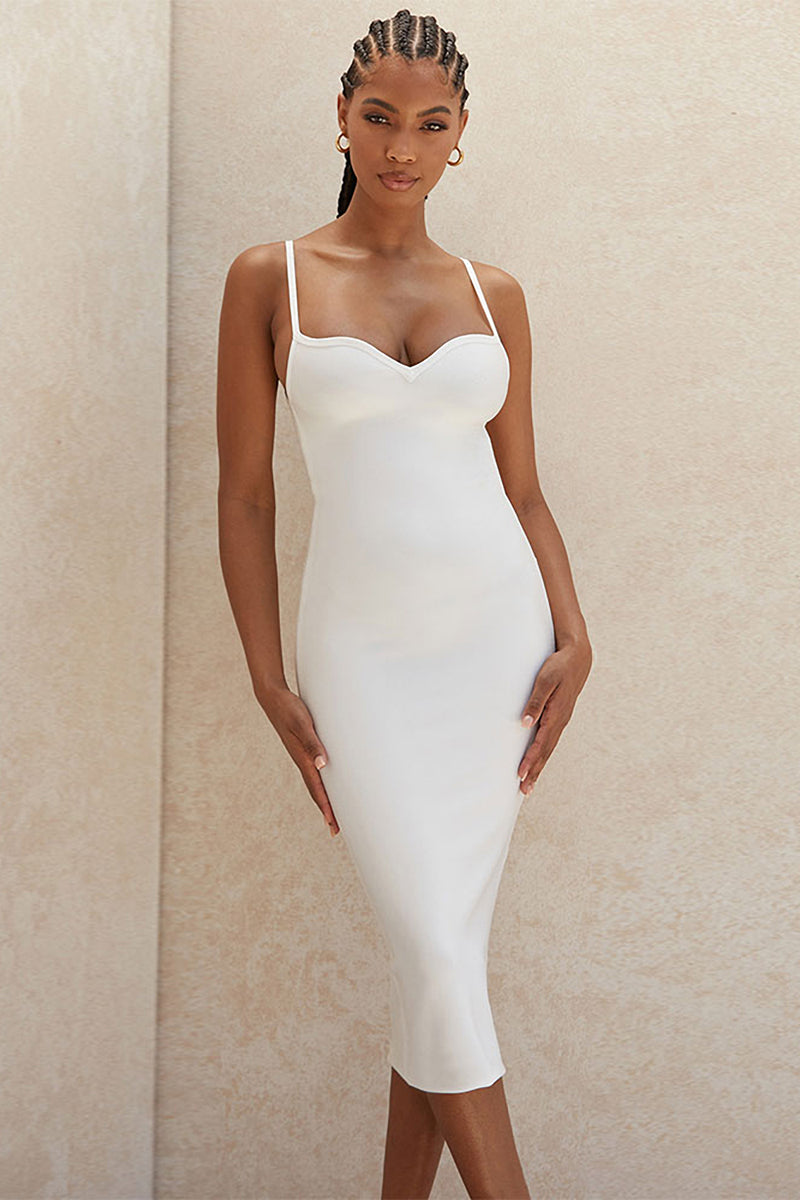 White Sweetheart Neckline Bandage Dress