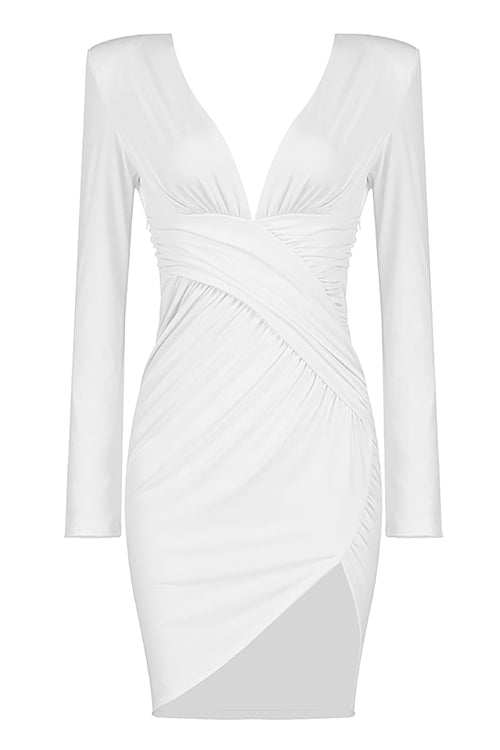 White V-neck Long Sleeve Lrregular Draped Dress