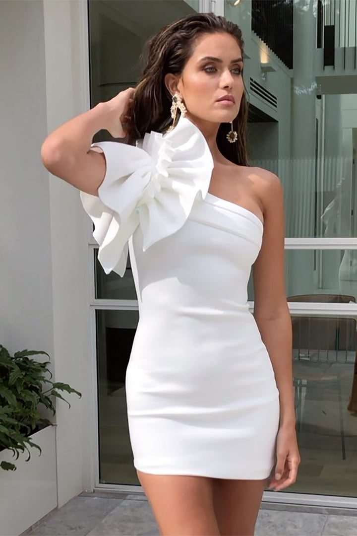 White Bandage One Shoulder Dress - iulover