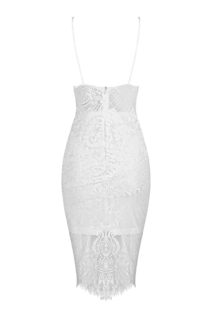 Spaghetti Strap Lace Bandage Dress - iulover