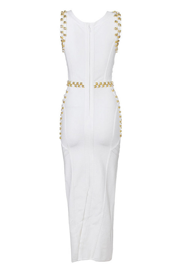 Black White Sleeveless Studded Beaded Long Maxi Bandage Dress - iulover