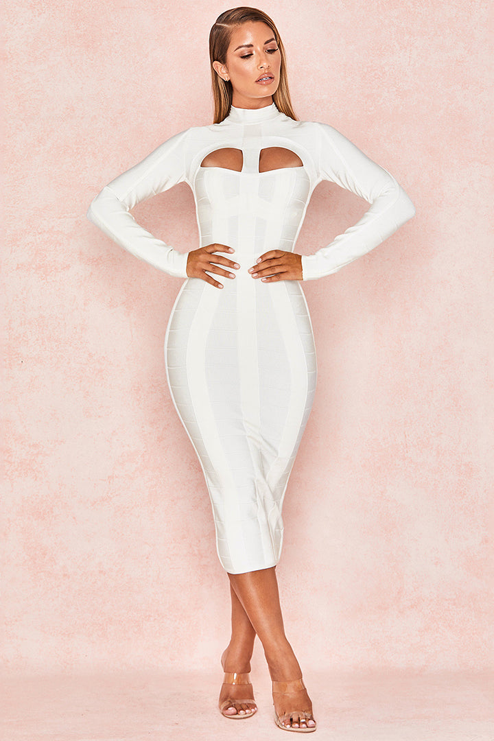 White Cut Out Long Sleeve Bandage Dress - iulover