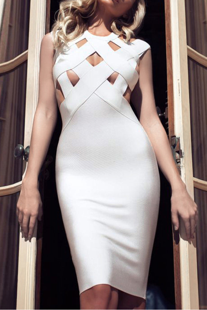 Cut out Cross ON-Neck Hollow Out Sexy Bandage Dress - iulover