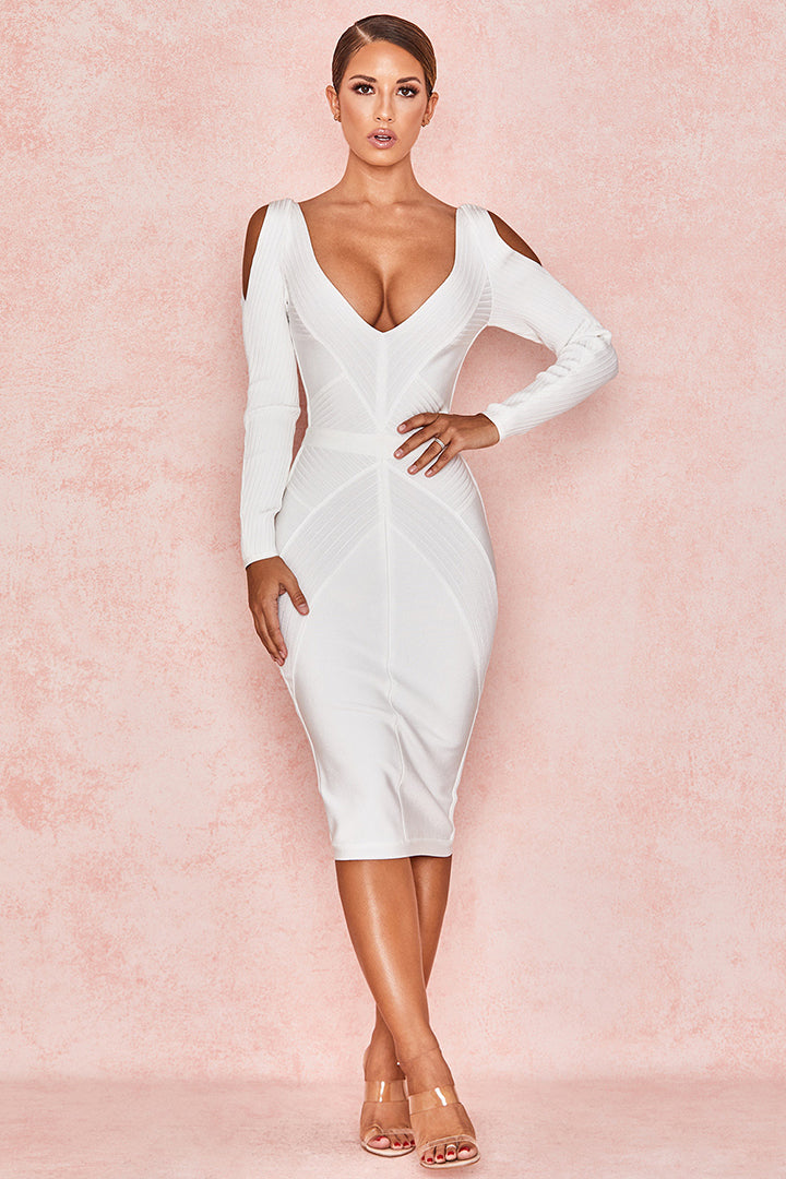 White Deep V Ribbed Bandage Cold Shoulder Dress - iulover