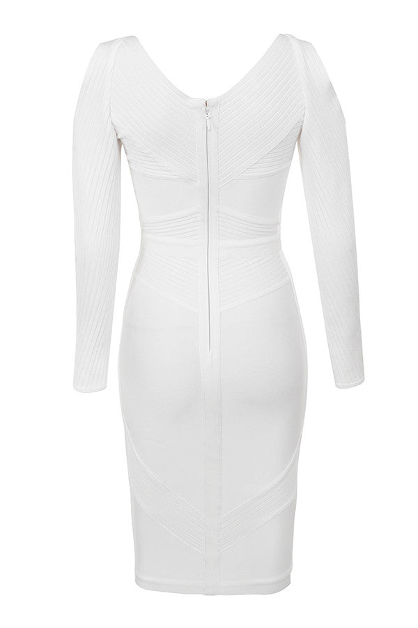 White Deep V Ribbed Bandage Cold Shoulder Dress