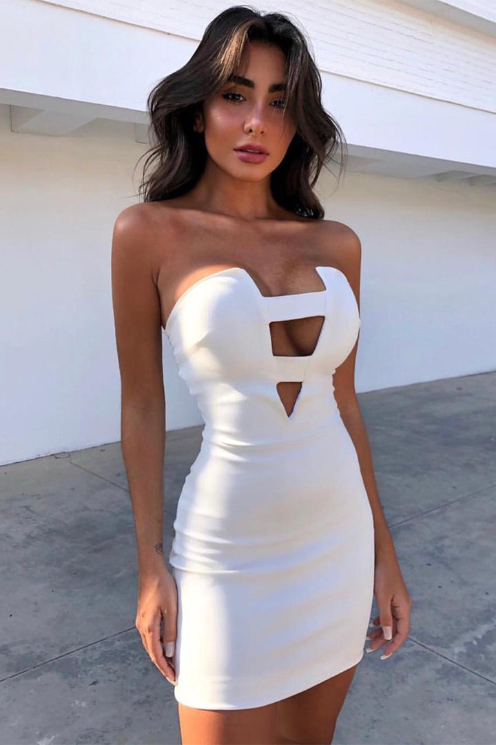 White Deep V Strapless Dress - iulover