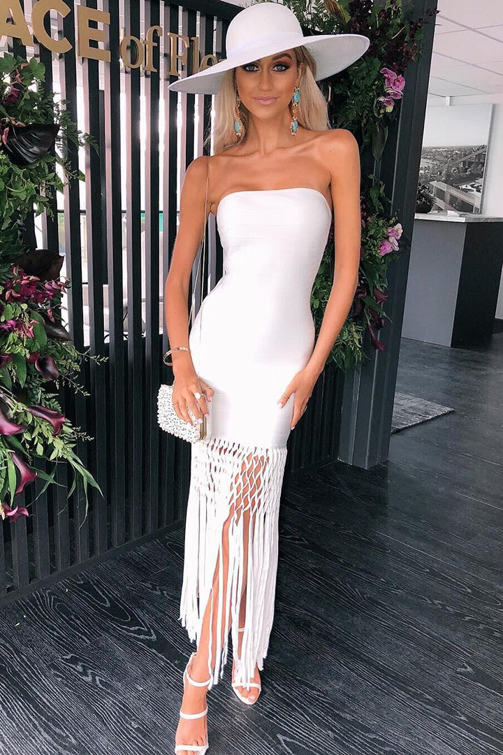 White Floral Sheath Sleeveless Tassel Bandage Dress - iulover
