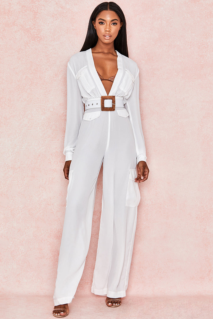 Medium Sleeve Casual Deep V Neck With Belt Jumpsuit