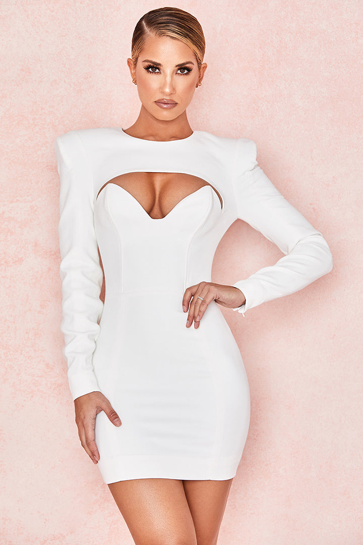 White Crepe Cut Out Mini Dress - iulover