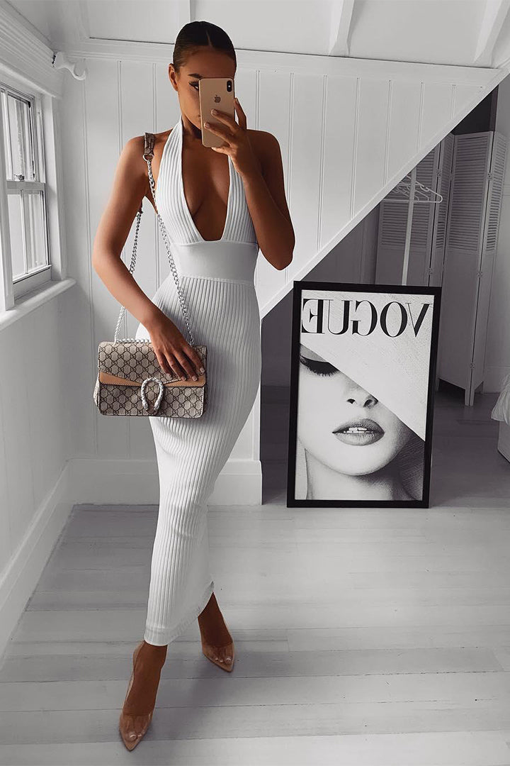 White Backless Halter Deep V Sexy Bandage Dress - iulover