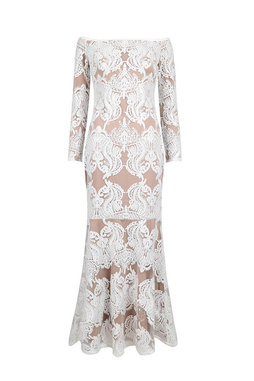 White Lace Bandage Maxi Dress - iulover