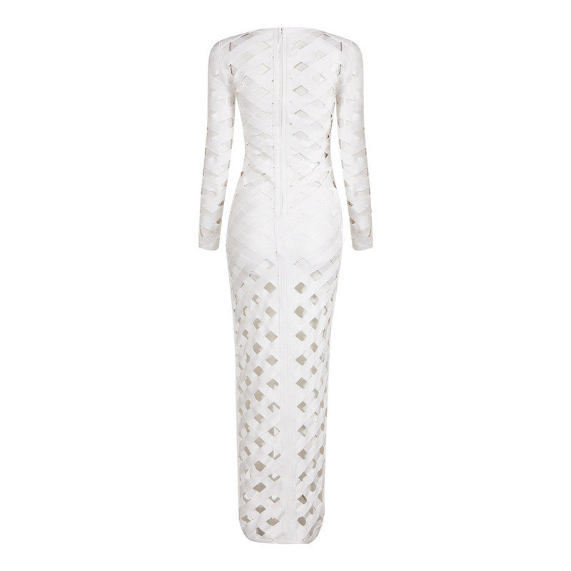 White Long Sleeves Maxi Bandage Dress - iulover