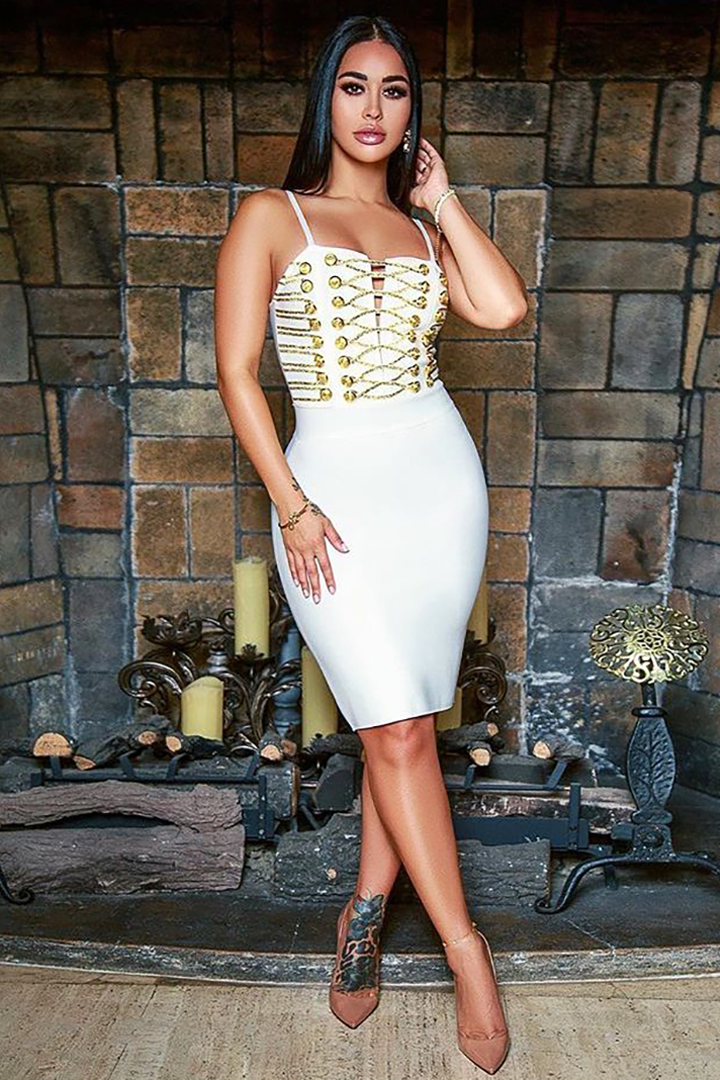 Slash Neck Backless Split Midi Bandage Dress