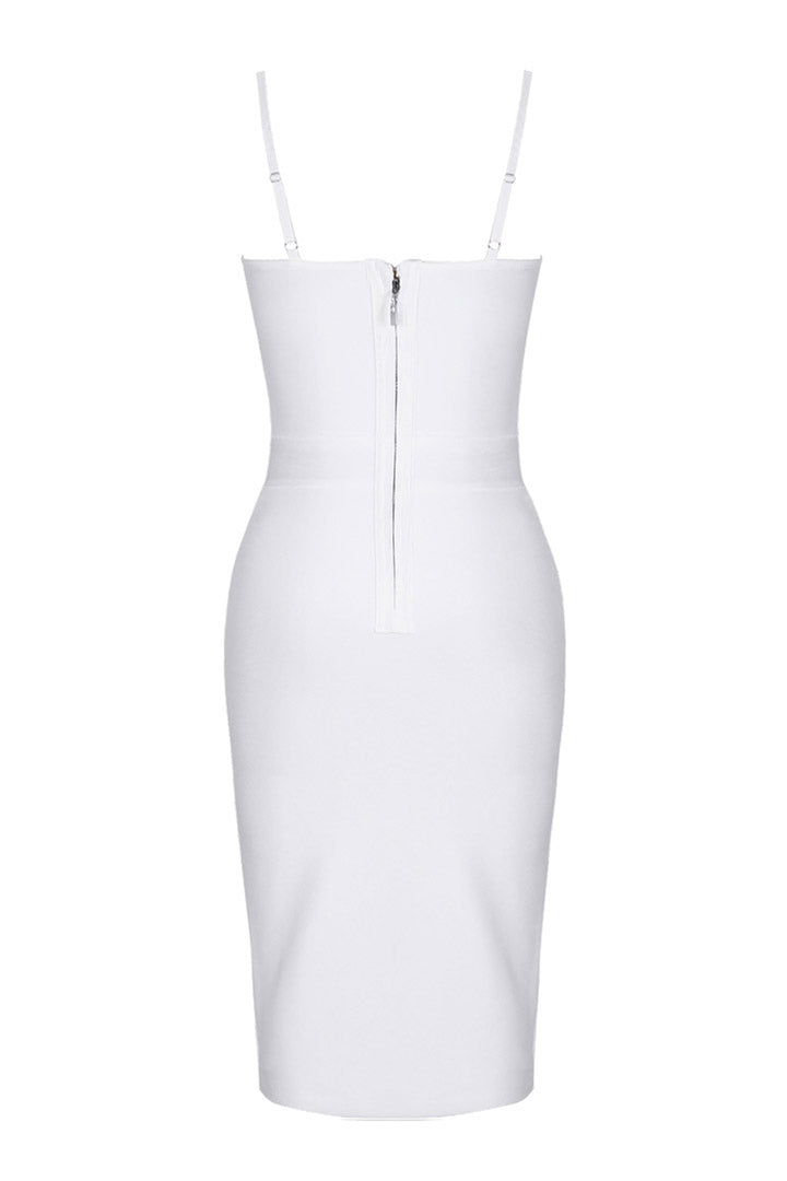 White Strappy Sleeveless Metal Studded Cross Bandage Dress - iulover