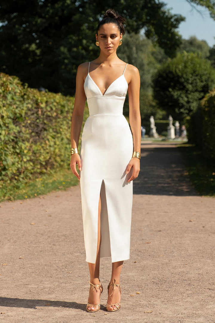 White Spaghetti Strap Deep V Midi Bandage Dress - iulover