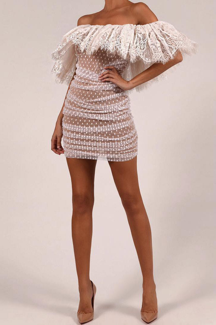 White Off Shoulder Lace Mini Dress - iulover