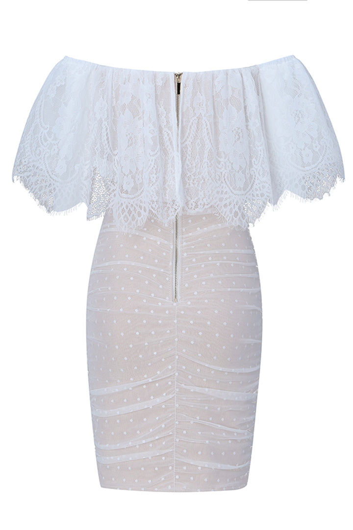 White Off Shoulder Lace Mini Dress