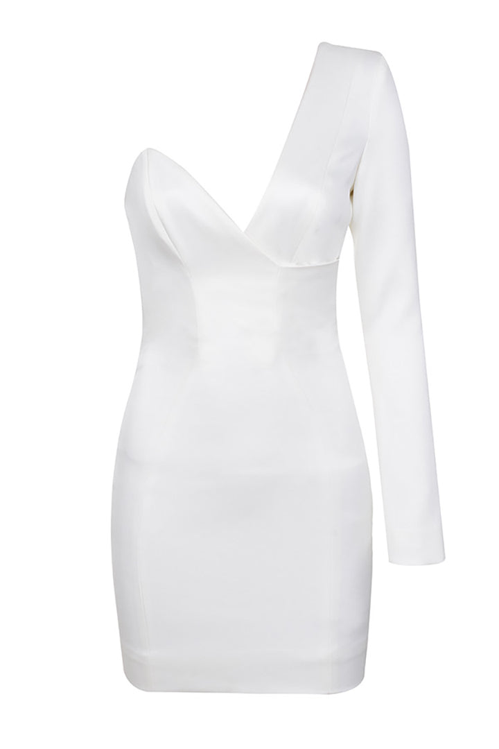 White One Shoulder Mini Dress - iulover